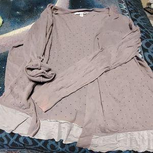Lauren Conrad Grey Eyelet short  sweater cotton